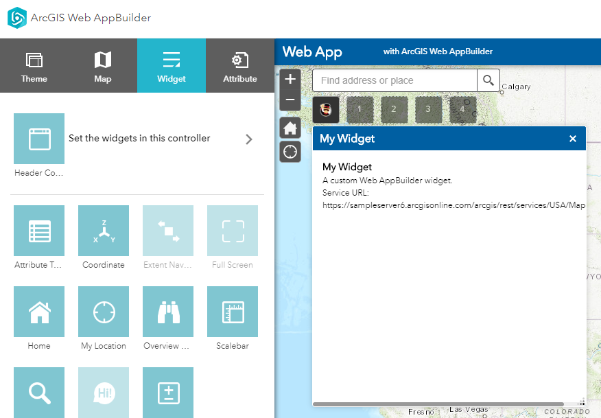 Screenshot of the scaffolded widget in the builder