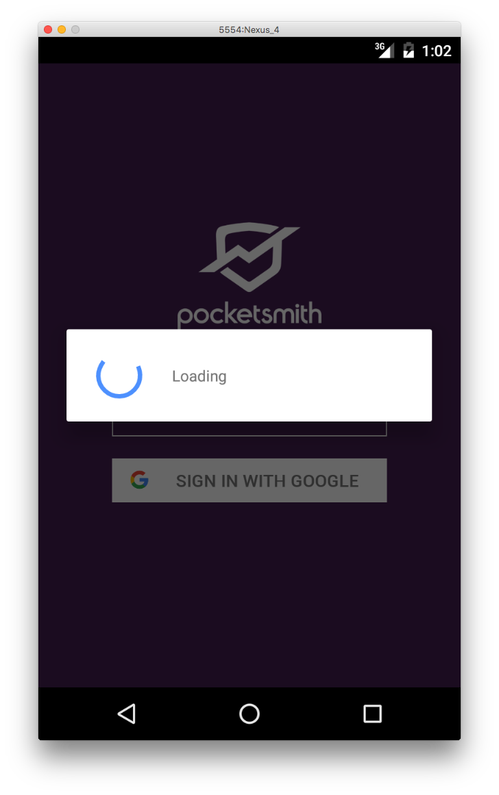 Loading indicator on Android