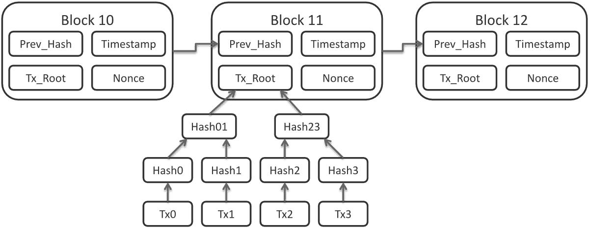 Structure of block header in blockchain