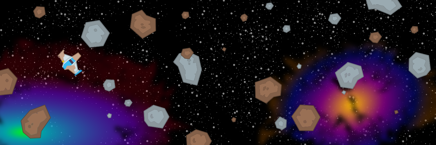 Damaged ship drifting in an asteroid field with a starfield and nebula in the background