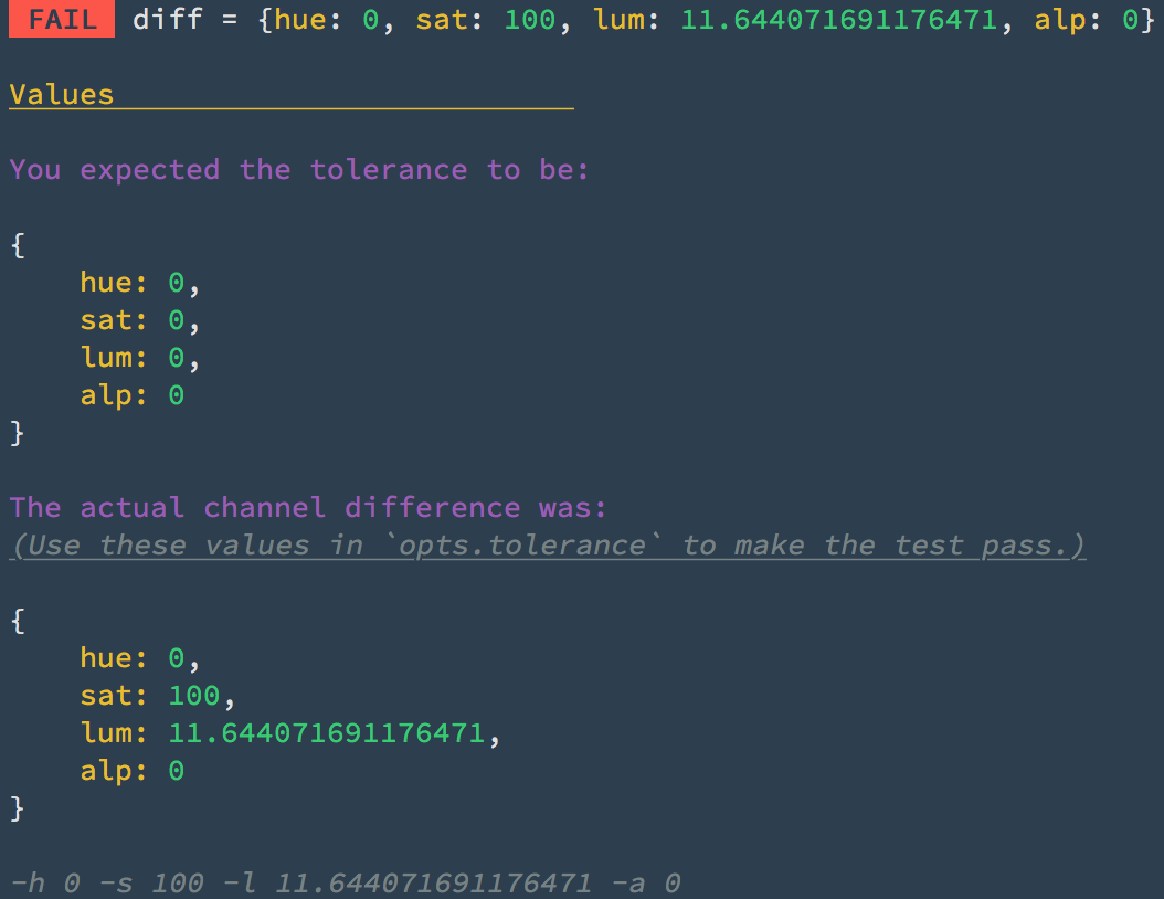 Test details in the Terminal