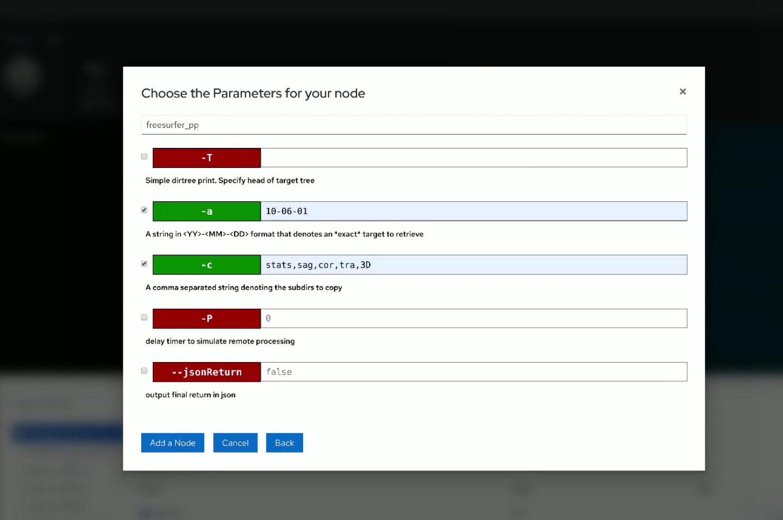Node parameter entry