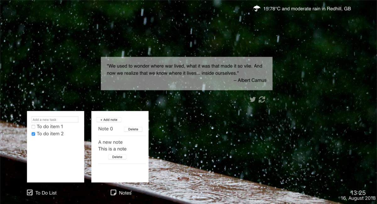Quote and Weather Landing Page