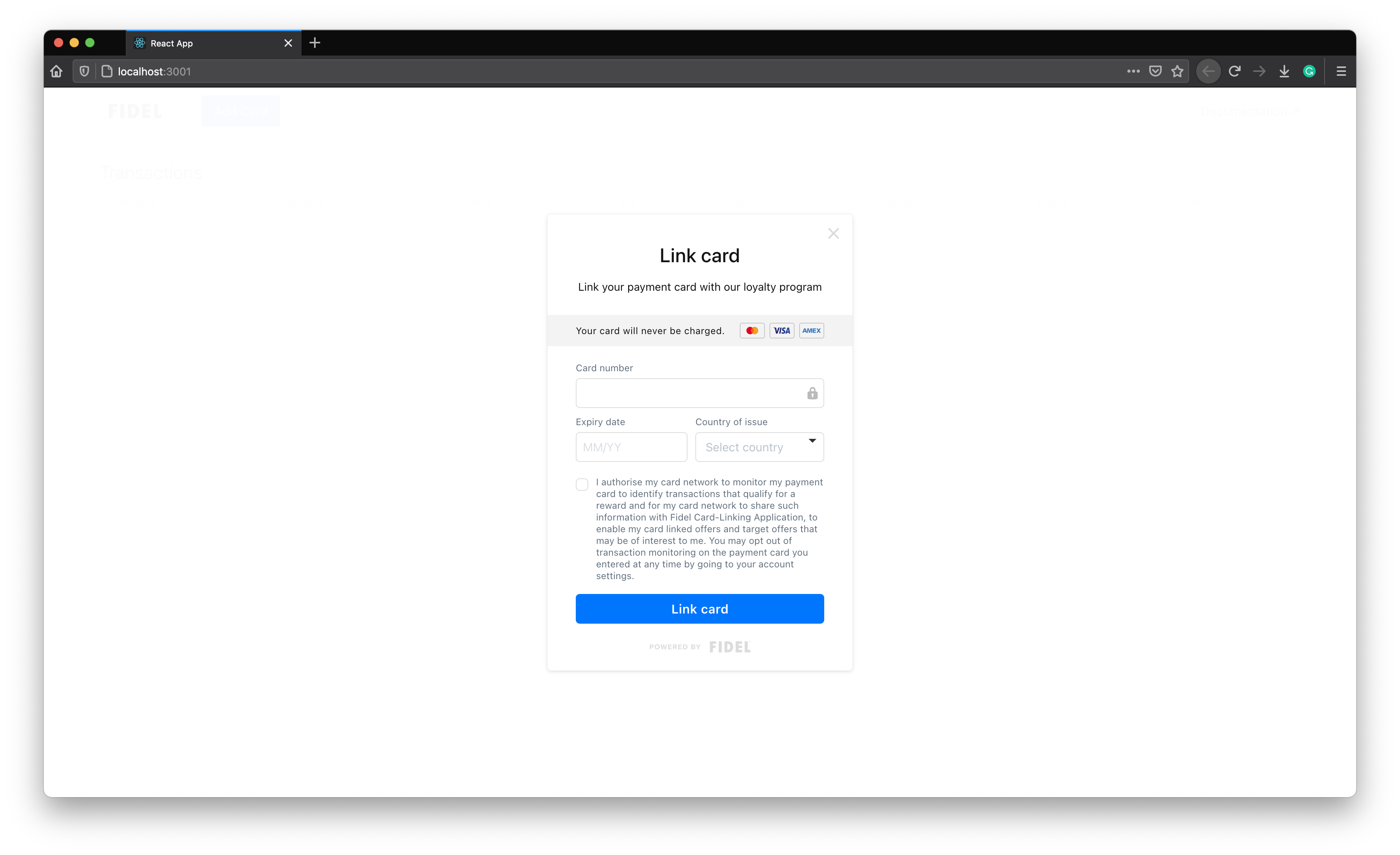 Card-Linking Form