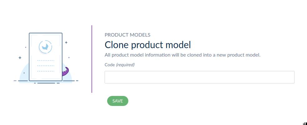 Product Model Clone Dialog Screen