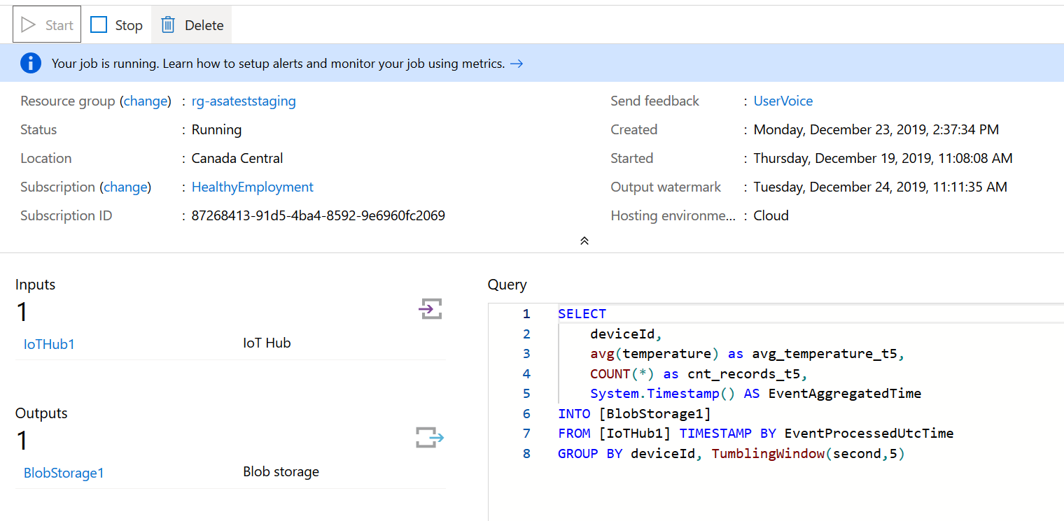 Screenshot of the Azure portal : cloud ASA run