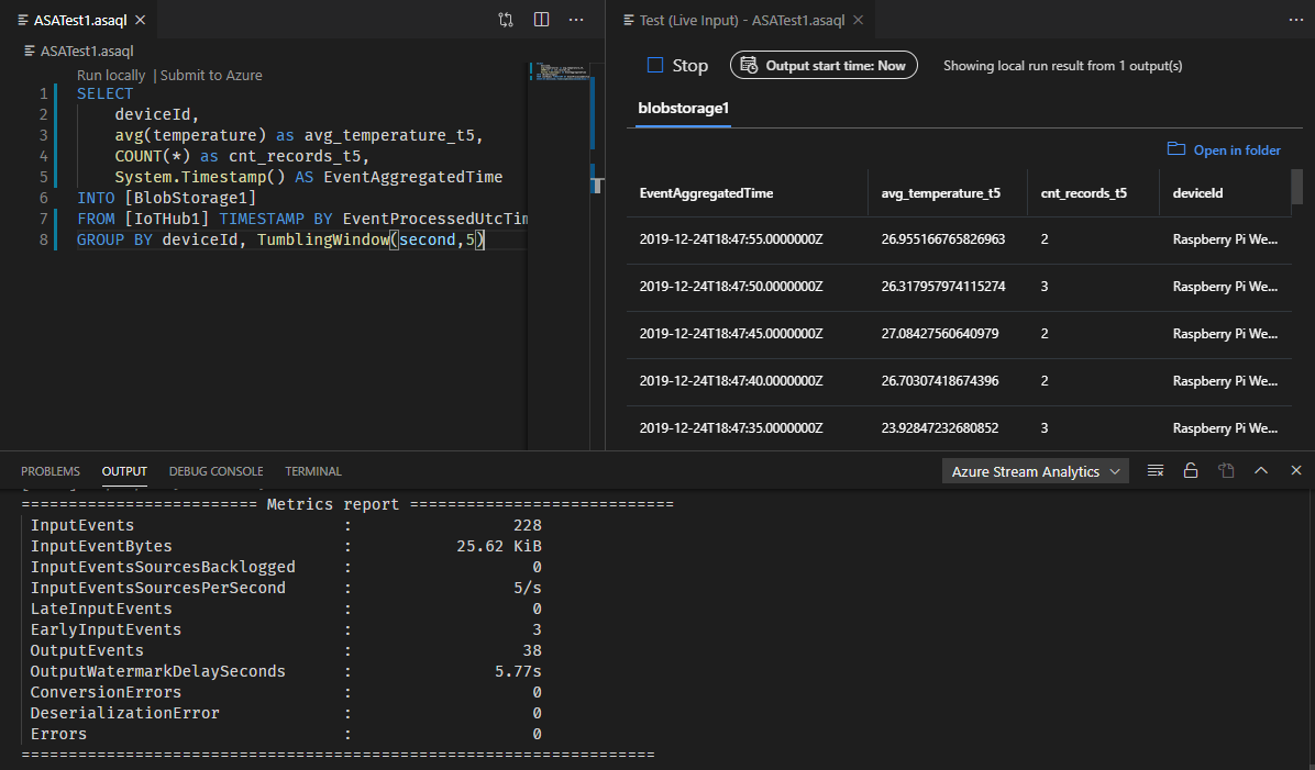 Screenshot of VSCode: local live ASA run