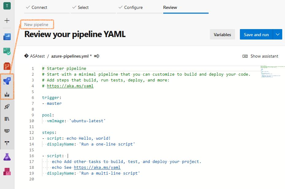 Screenshot of Azure DevOps: starter YAML pipeline