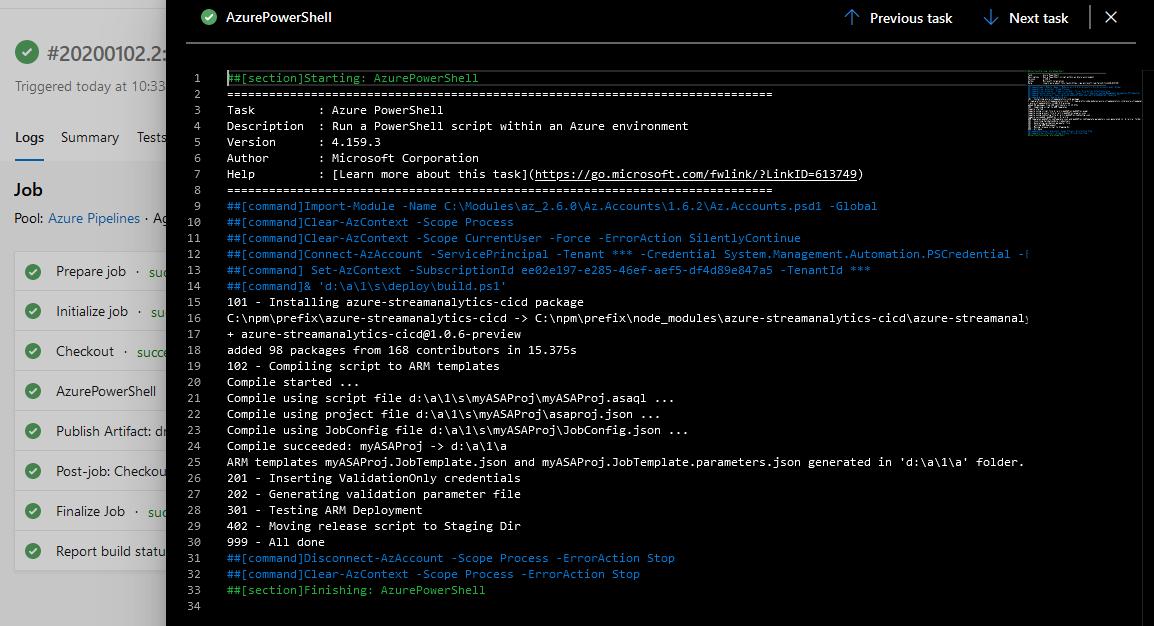 Screenshot of Azure DevOps: log of a successful build