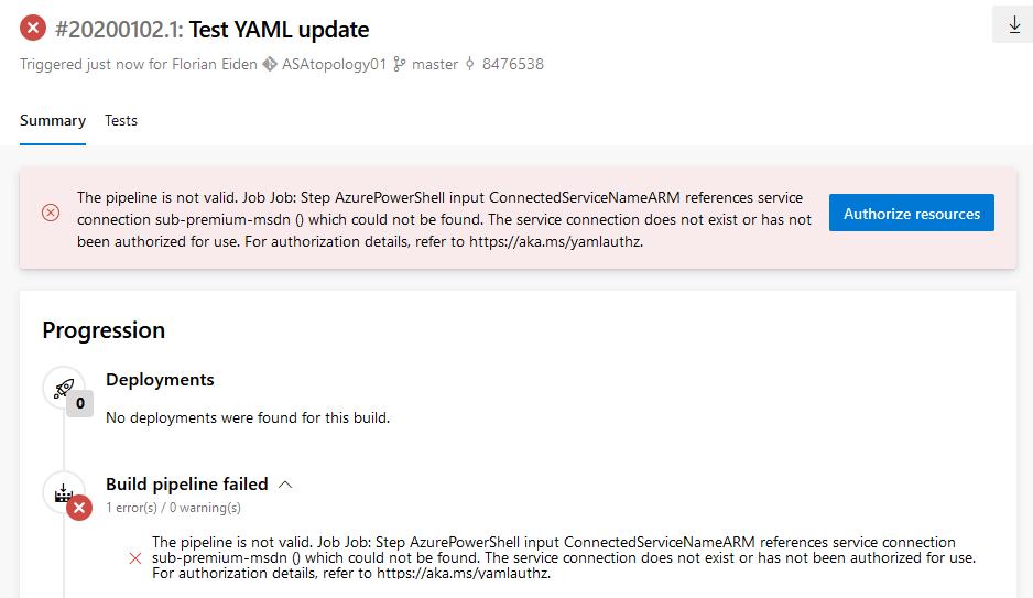 Screenshot of Azure DevOps: connection error in the build setup