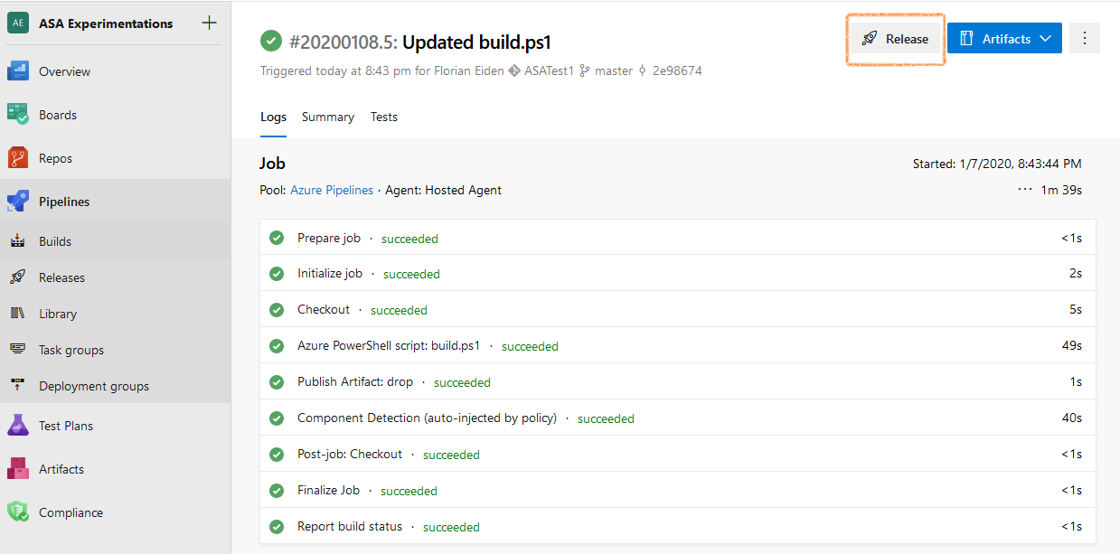 Screenshot of Azure DevOps: successful build, top right is highlighted a Release button