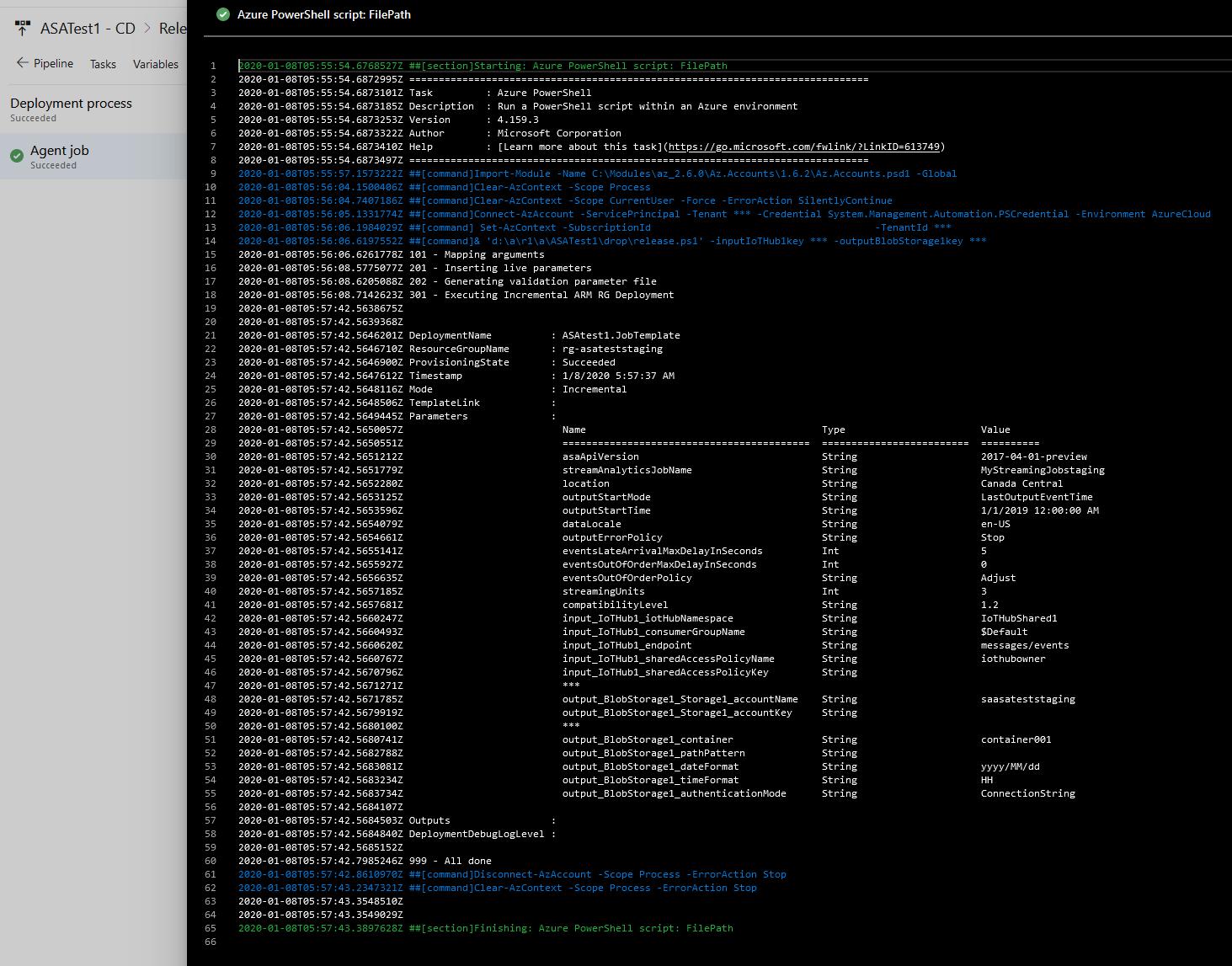 Screenshot of Azure DevOps: log of a successful release