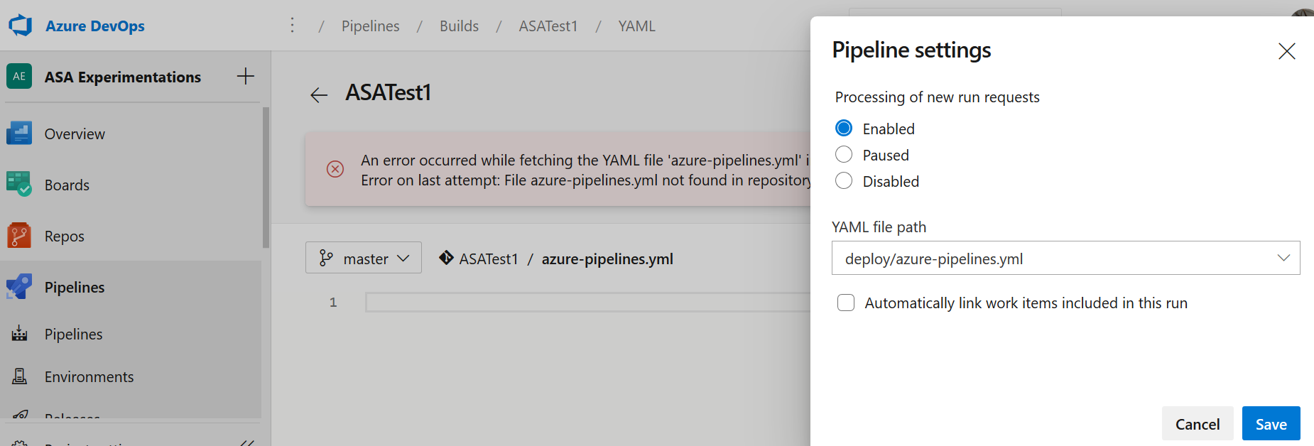 figure 4 - Azure DevOps, build pipeline screenshot : fixing the yaml path