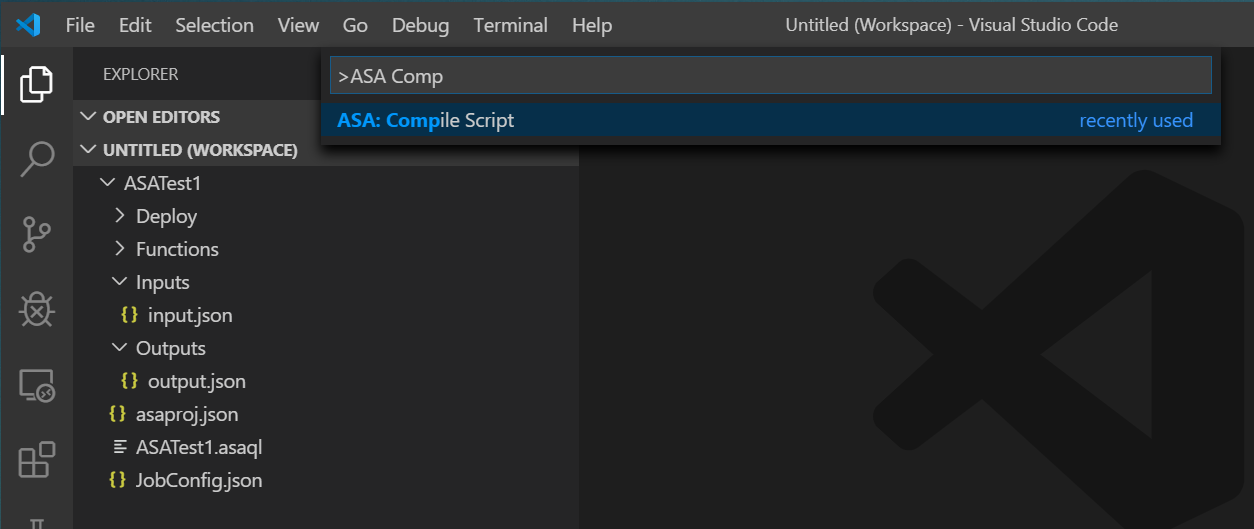 Screenshot of VSCode: ASA charm ~ Compile Script