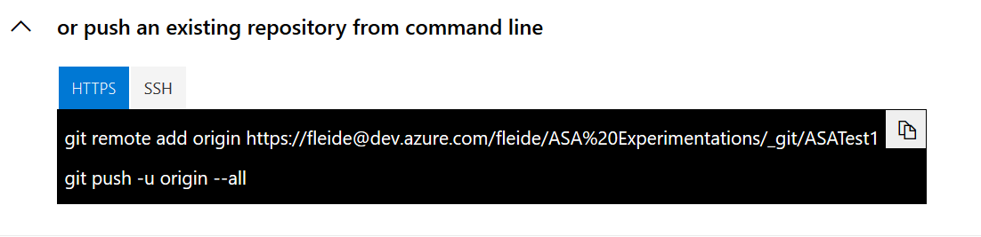 Screenshot of Azure DevOps: new repo origin address