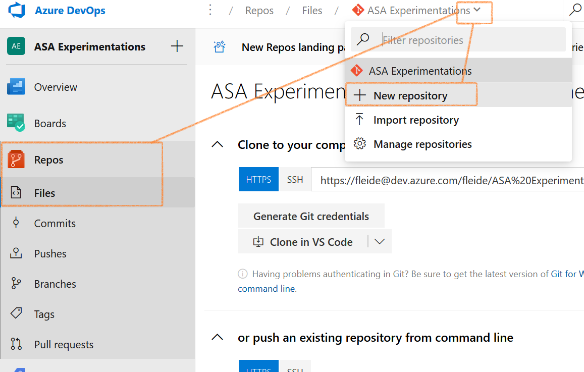 Screenshot of Azure DevOps: new repository experience