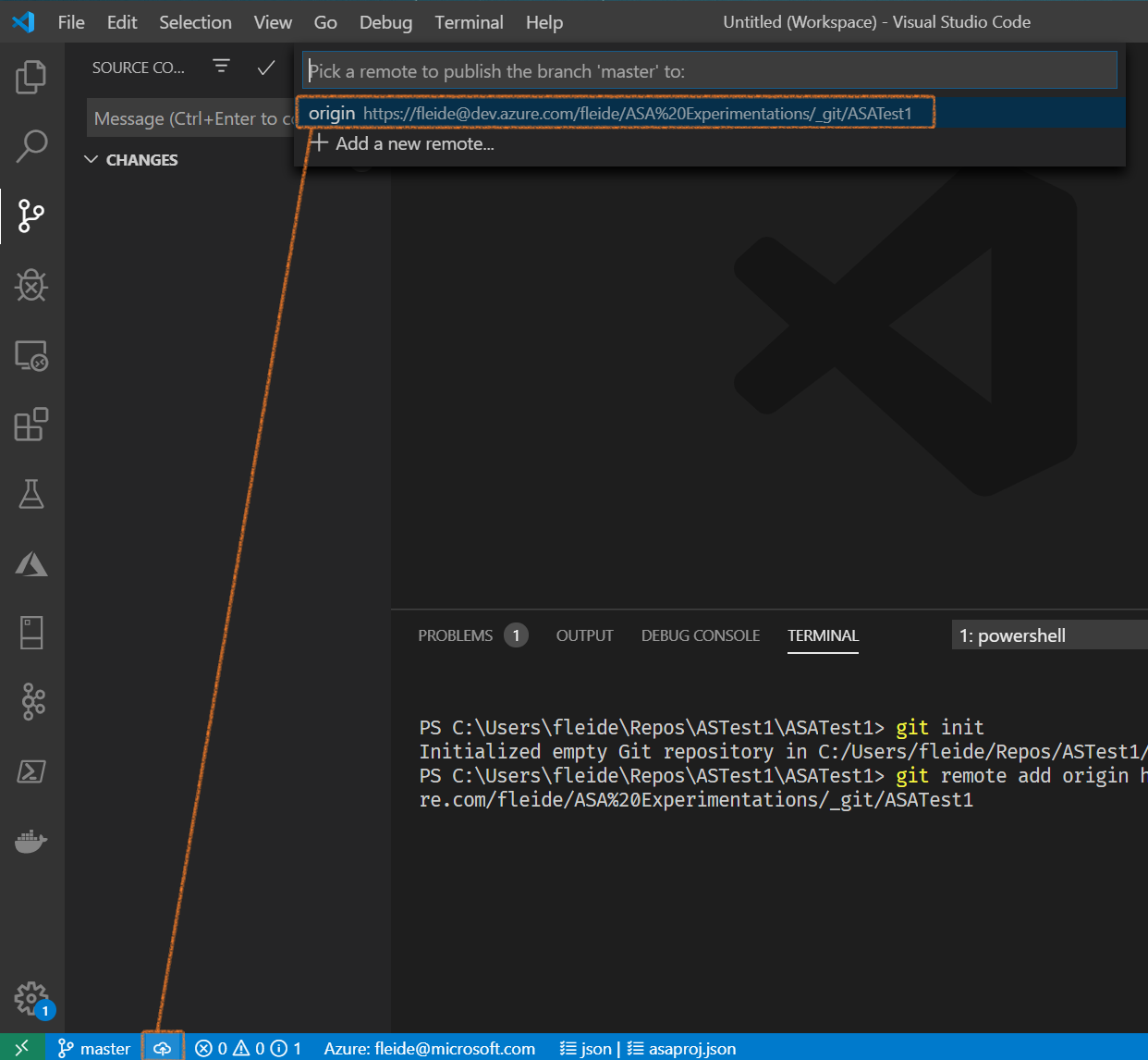 Screenshot of VSCode: push to origin repo