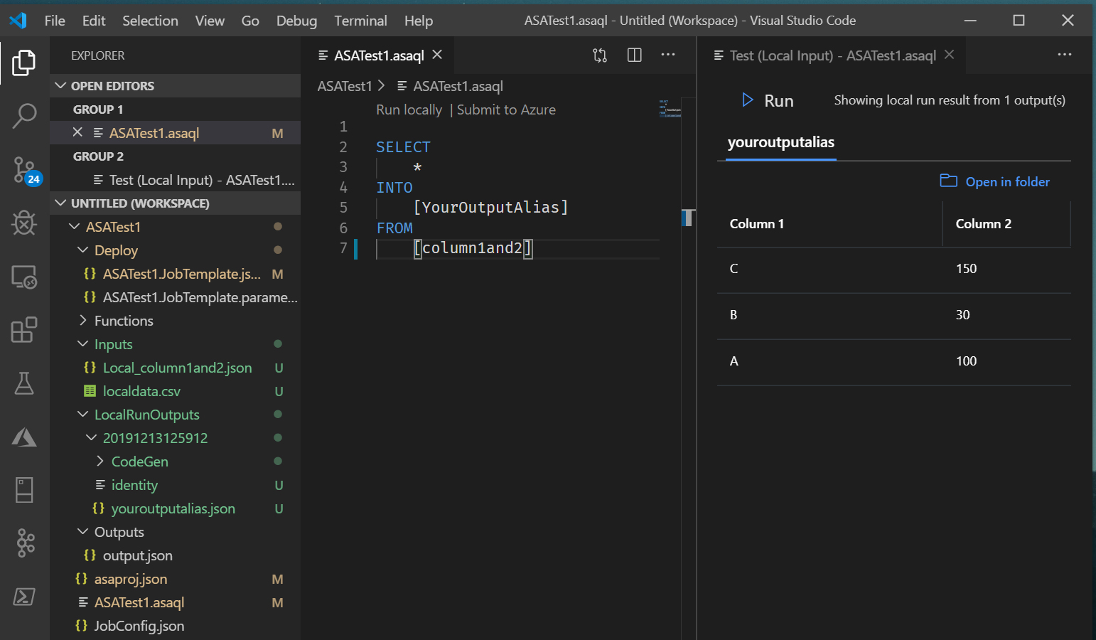 Screenshot of VSCode: local run result