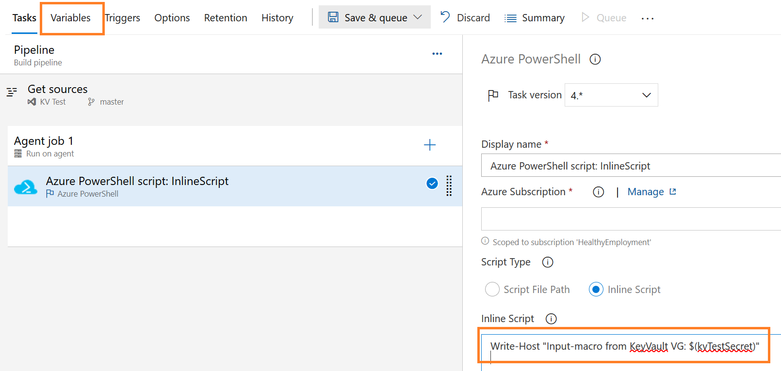 Screenshot of Azure DevOps : Input macro syntax for inline script in classic experience