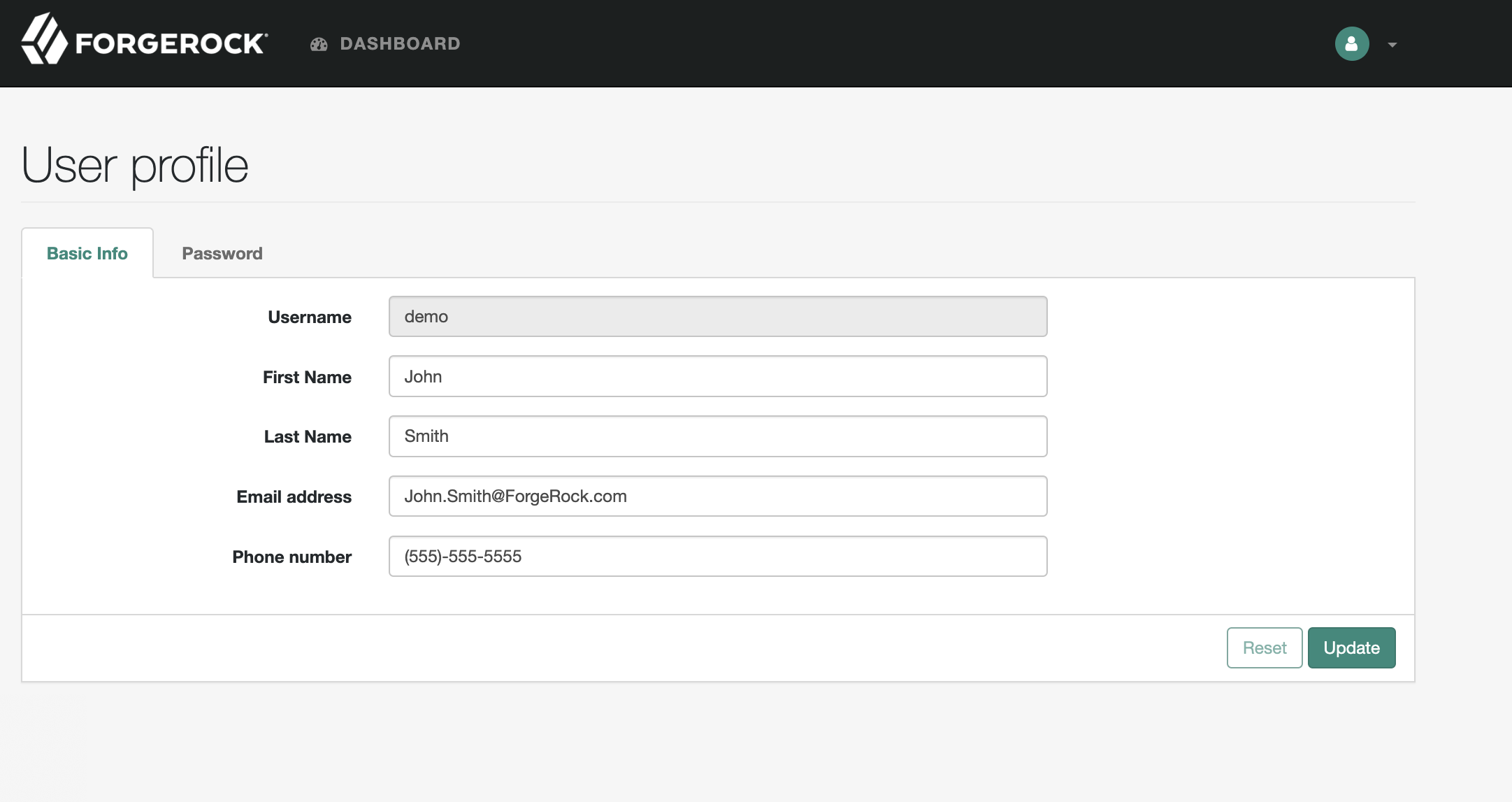 ForgeRock User Portal