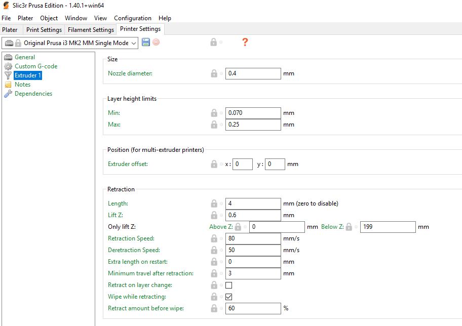 Printer Profiles Slic3r Prusa Edition Settings