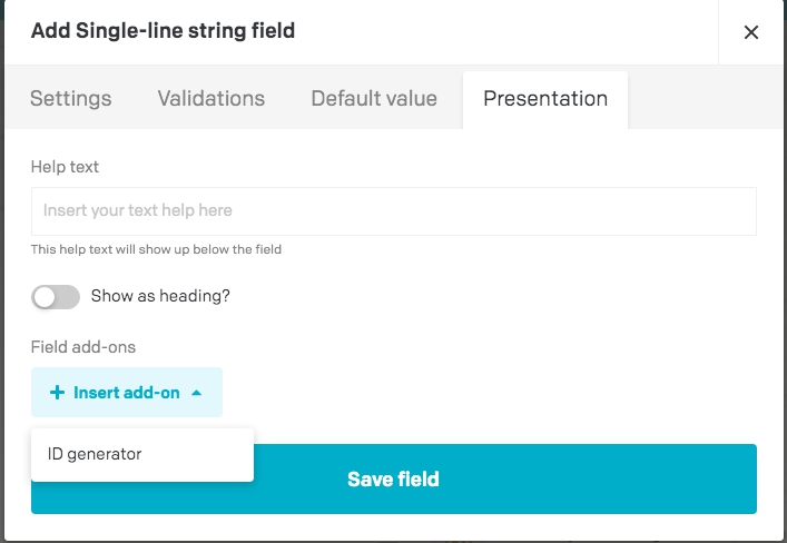 Plugin settings field add-on