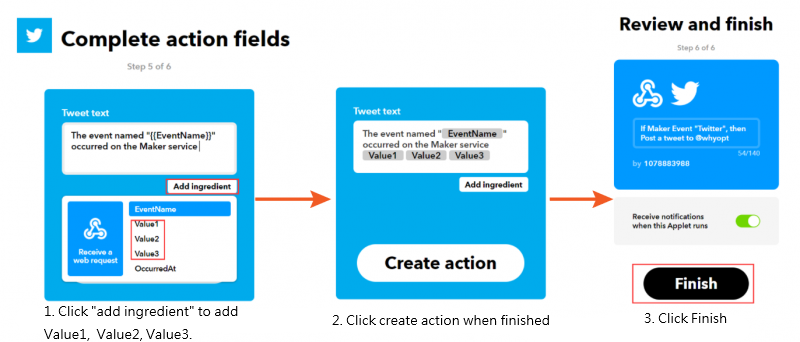 Complete the action fields