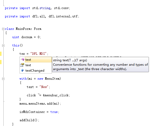dfl's intellisense in VS2010