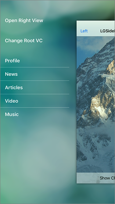 Swift: side menu 第三方庫資源