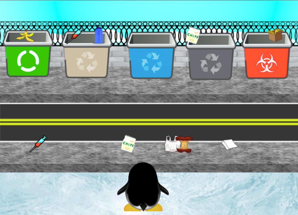 Reciclass. Pingüino recogiendo basura