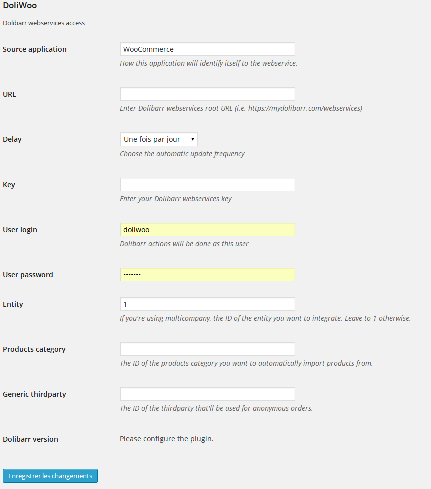The configuration page