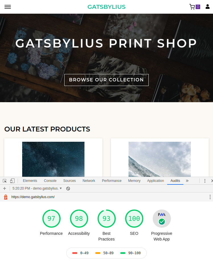 The default Gatsbylius home page