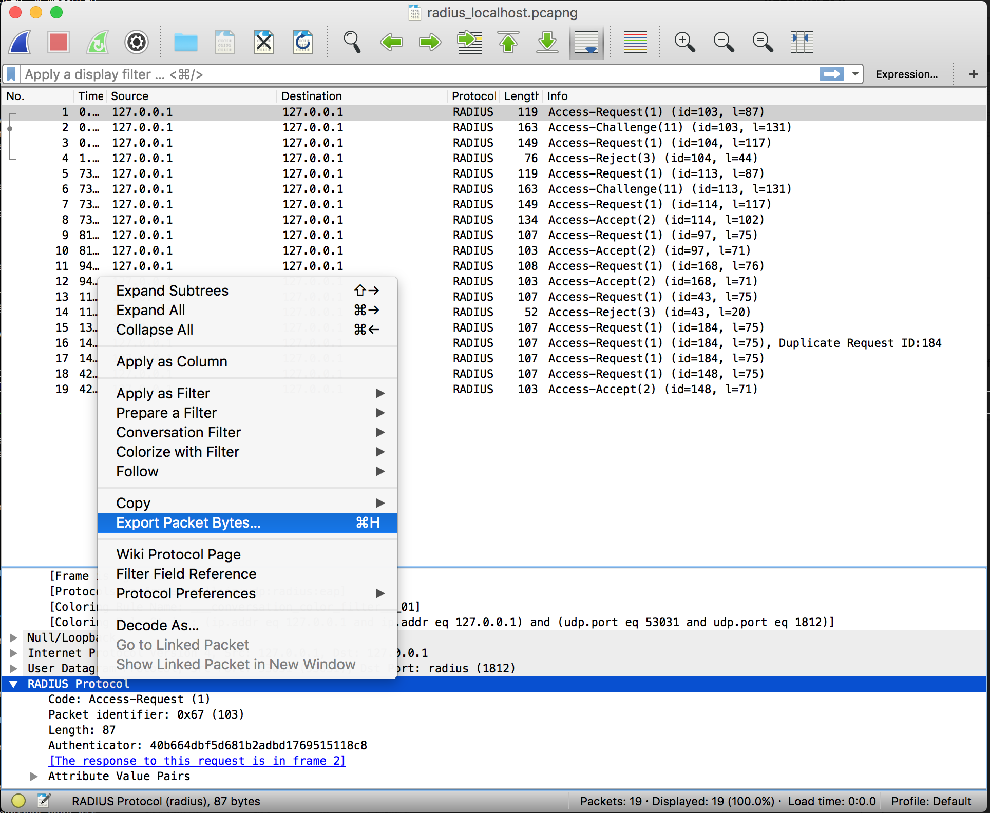 export packet data from Wireshark