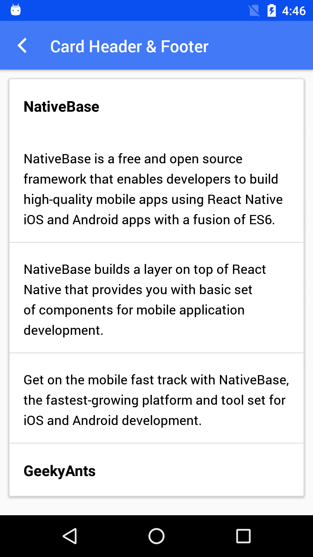 NativeBase card-header-and-footer component for android