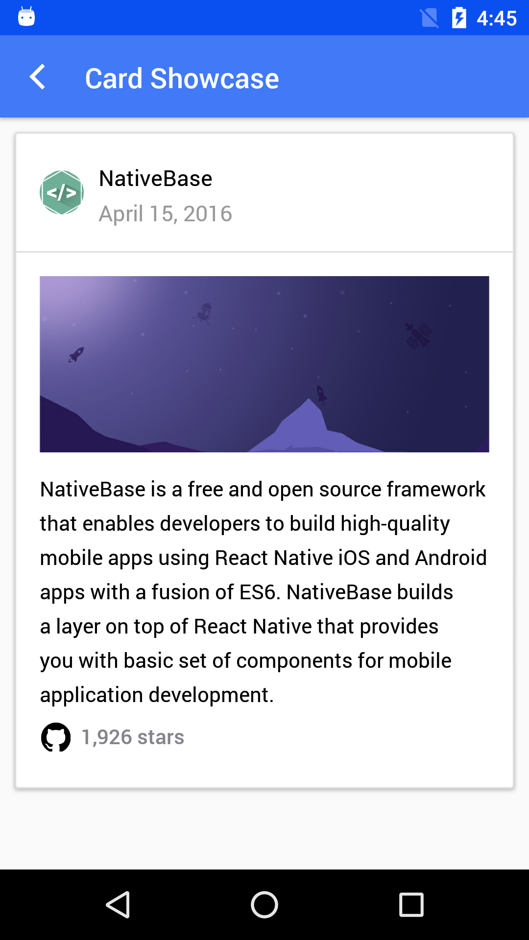 NativeBase card-showcase component for android