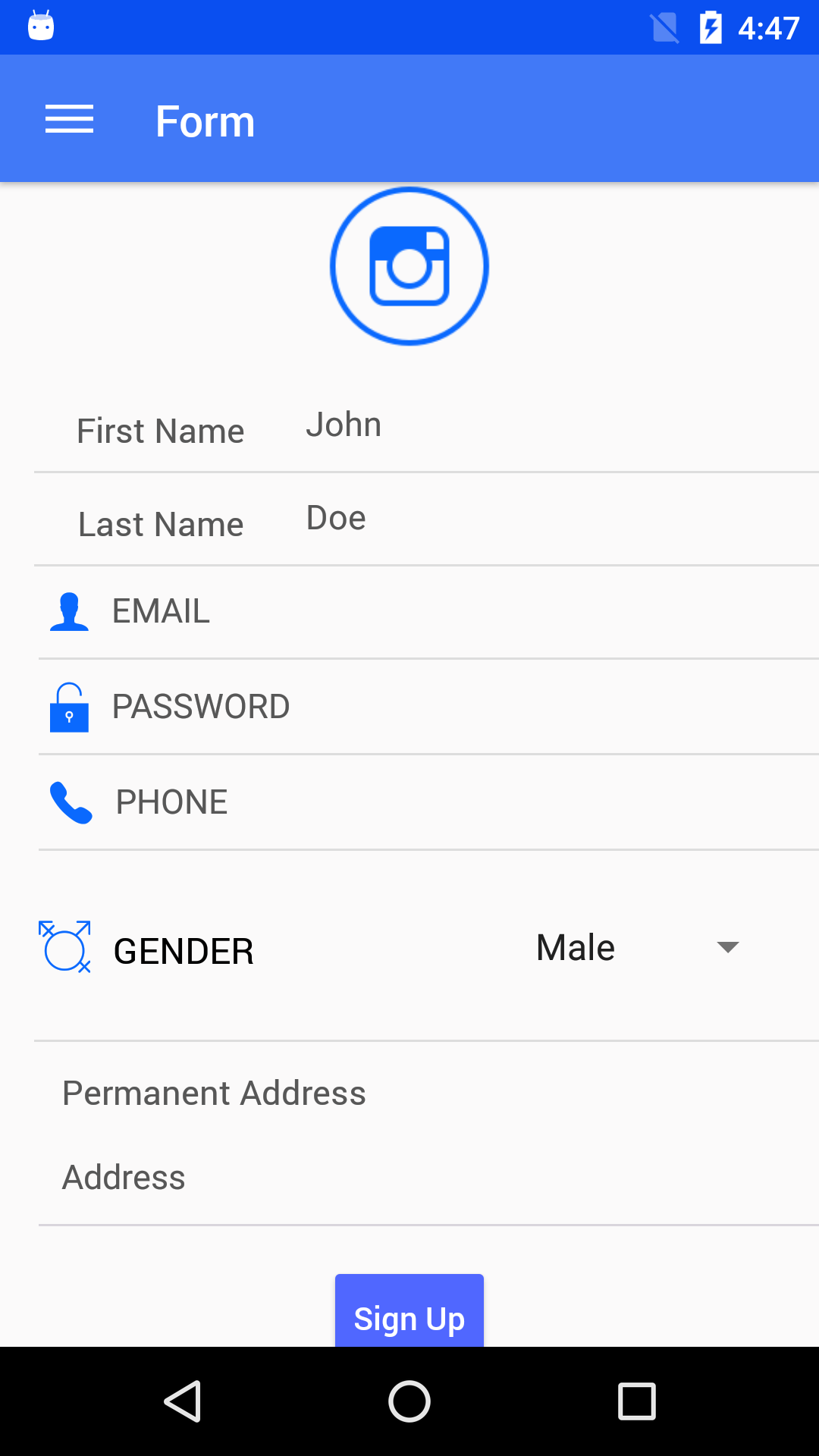 NativeBase Form component for android
