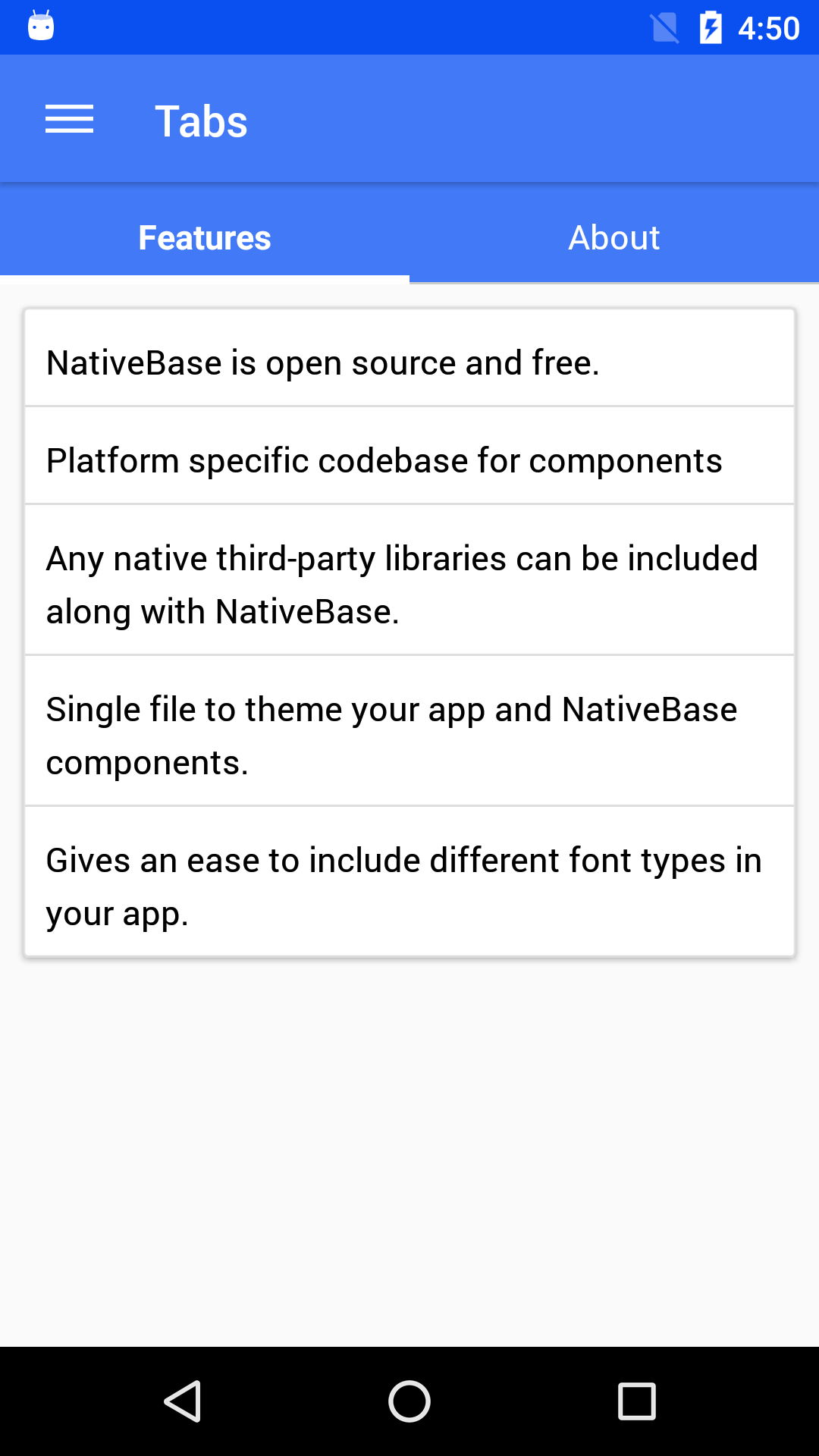 NativeBase tab component for android