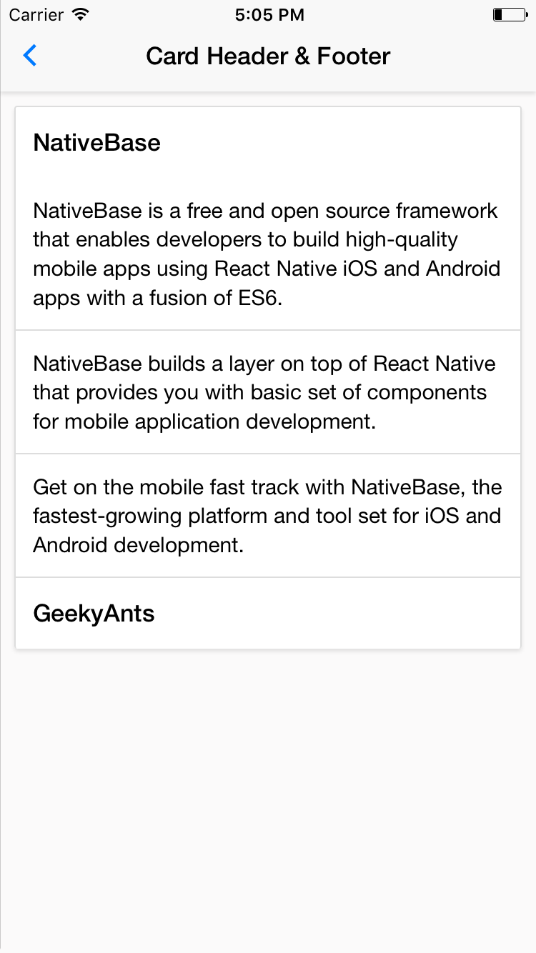 NativeBase card-header-and-footer component for iOS