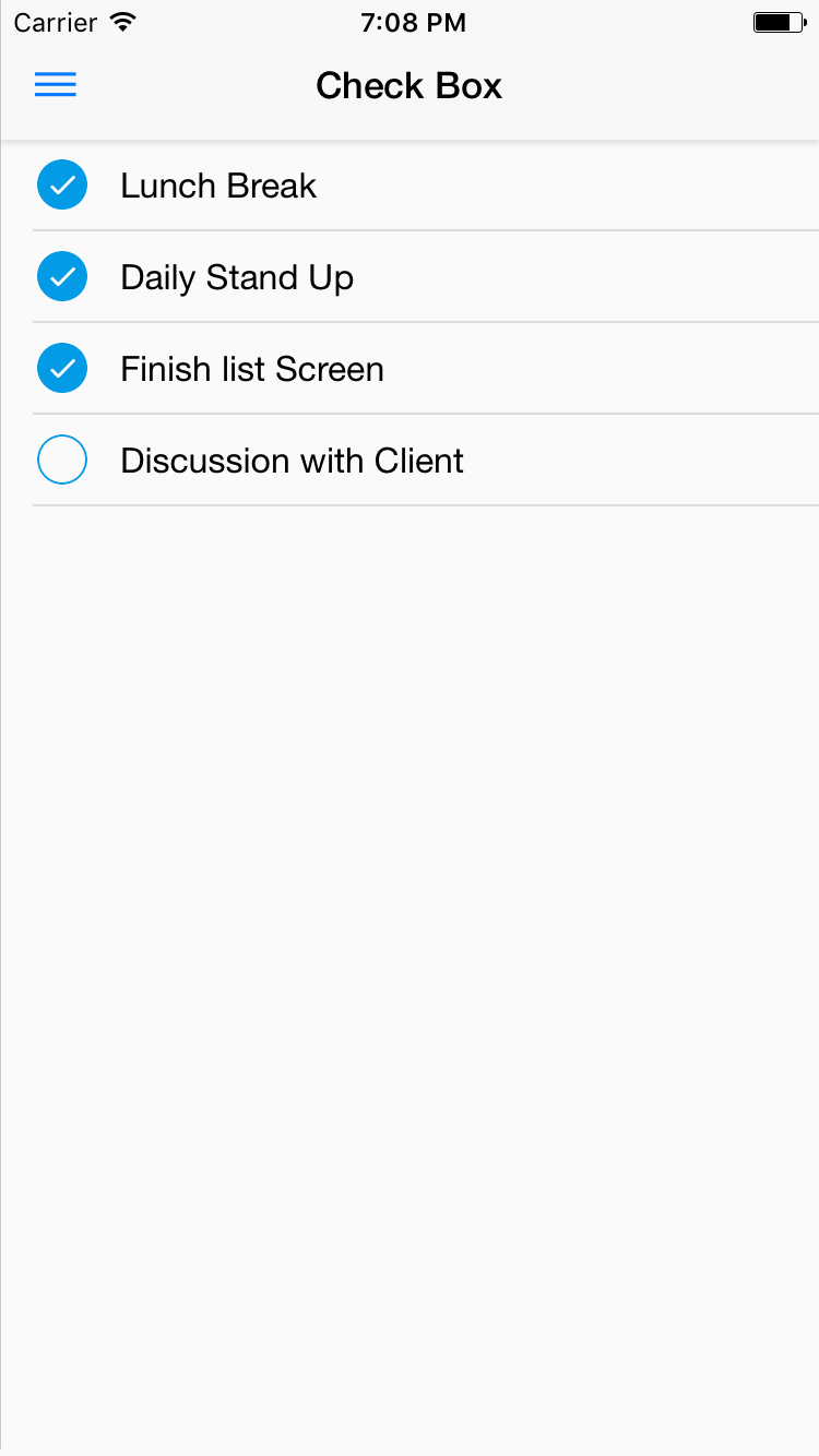 NativeBaseCheckBox component for iOS