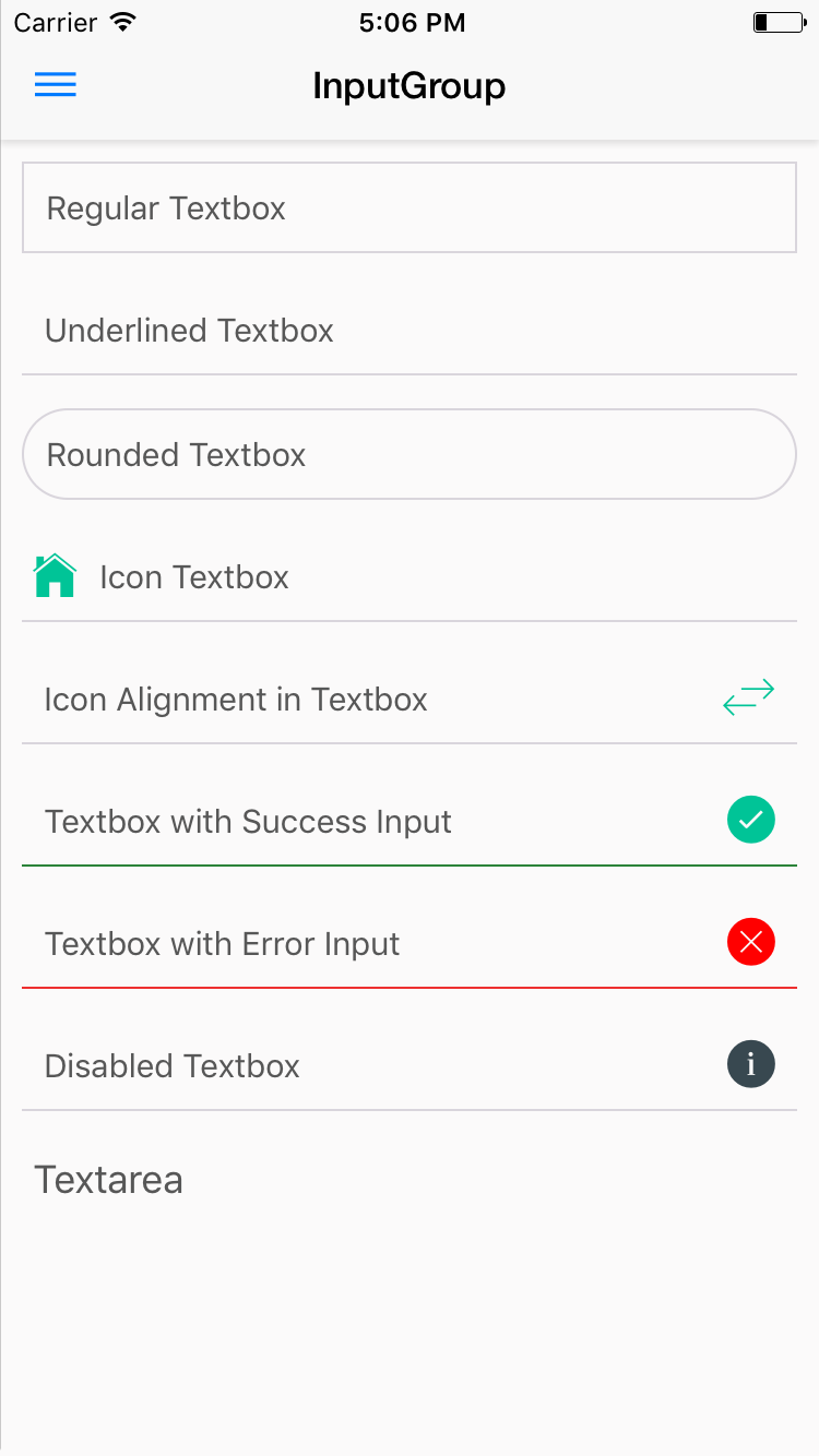 NativeBase InputGroup Component for iOS