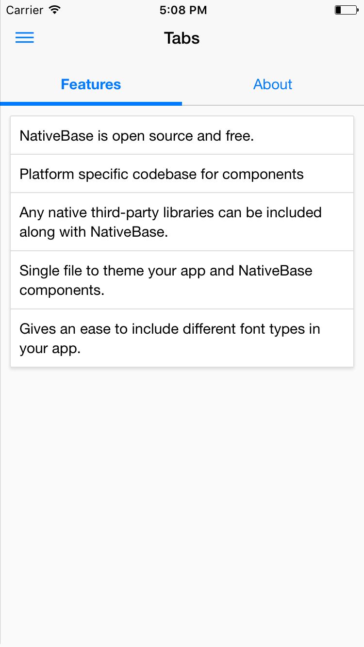 NativeBase tab component for iOS