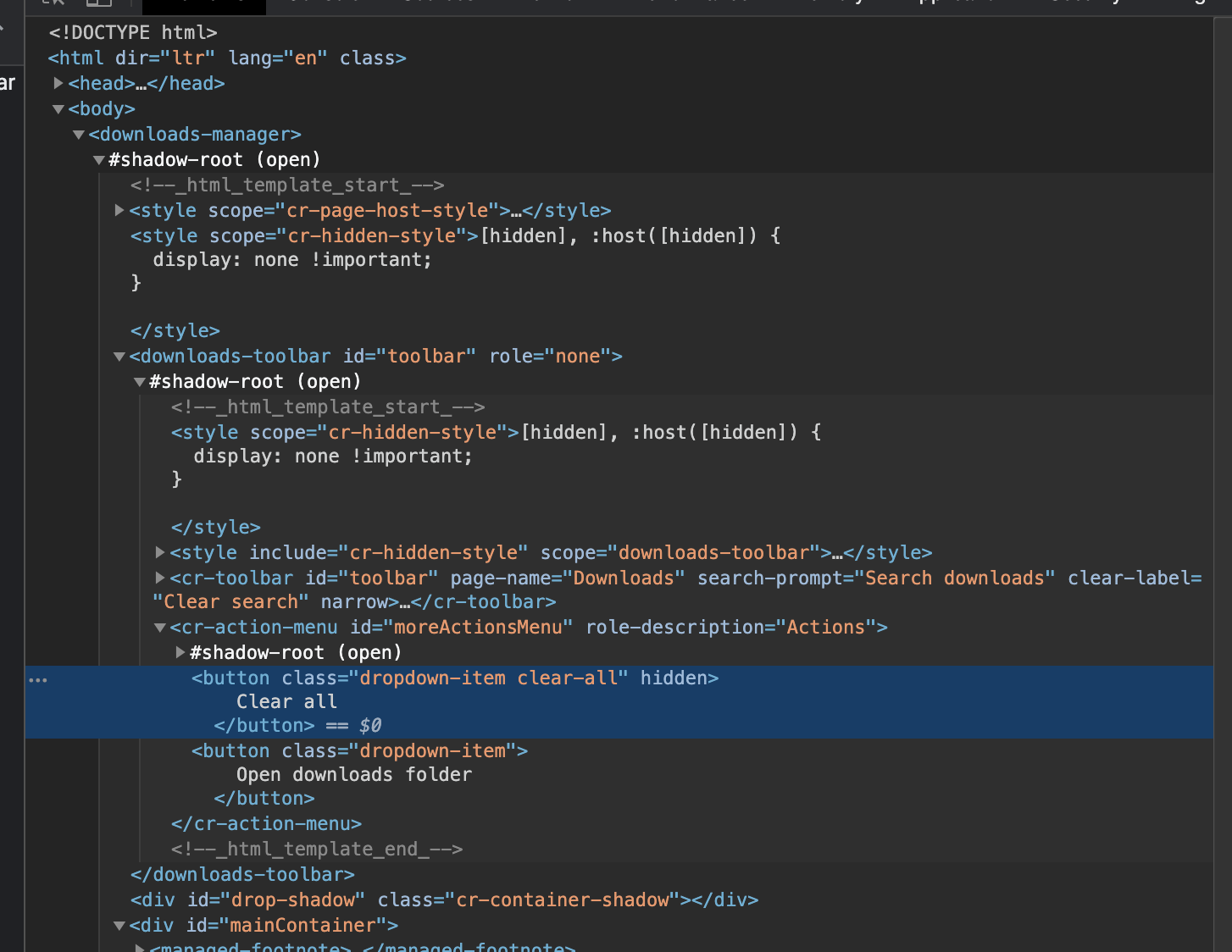 Image of Shadow DOM elements in dev tools