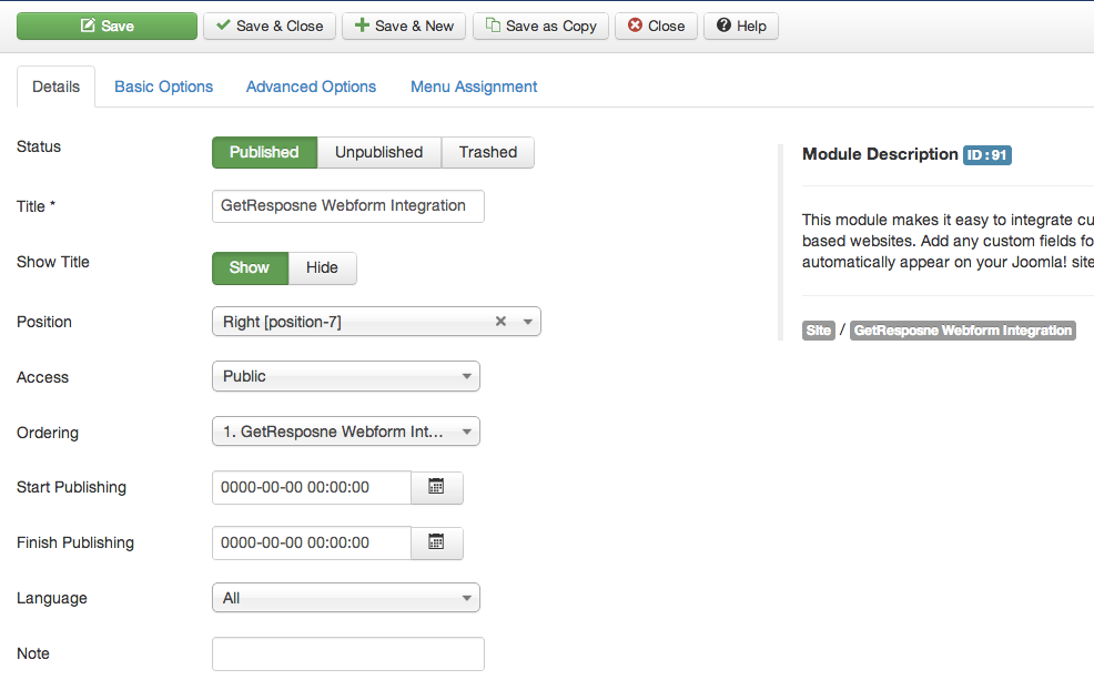 Web form ID setup