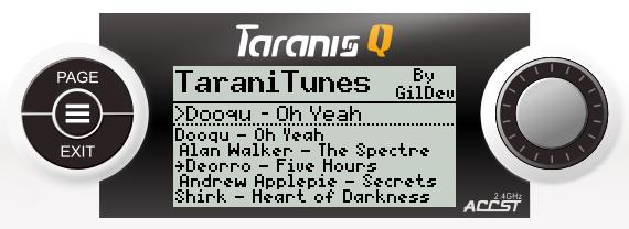 TaraniTunes: Lecteur de musique pour Taranis TaraniTunesQX7