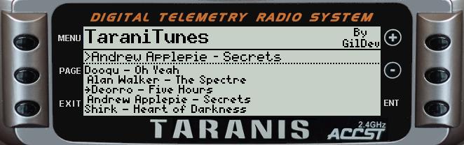 TaraniTunes: Lecteur de musique pour Taranis TaraniTunesX9D