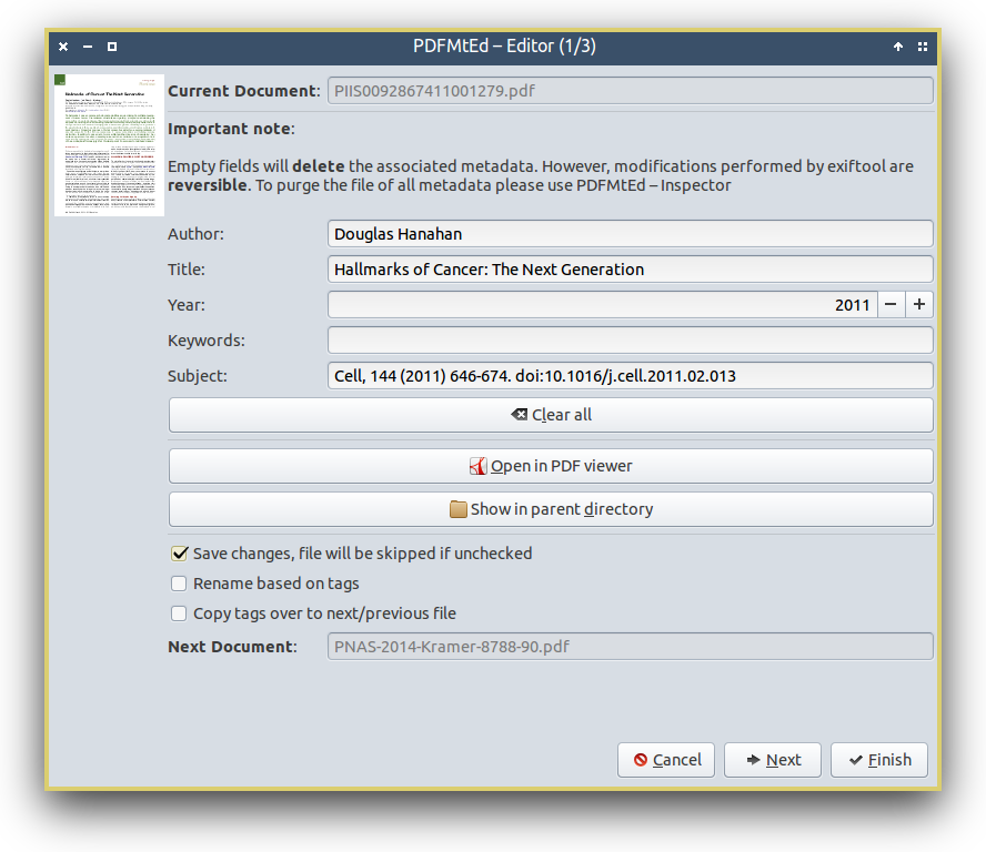 Linux] PDFMtEd – a basic exiftool GUI for editing PDF Metadata