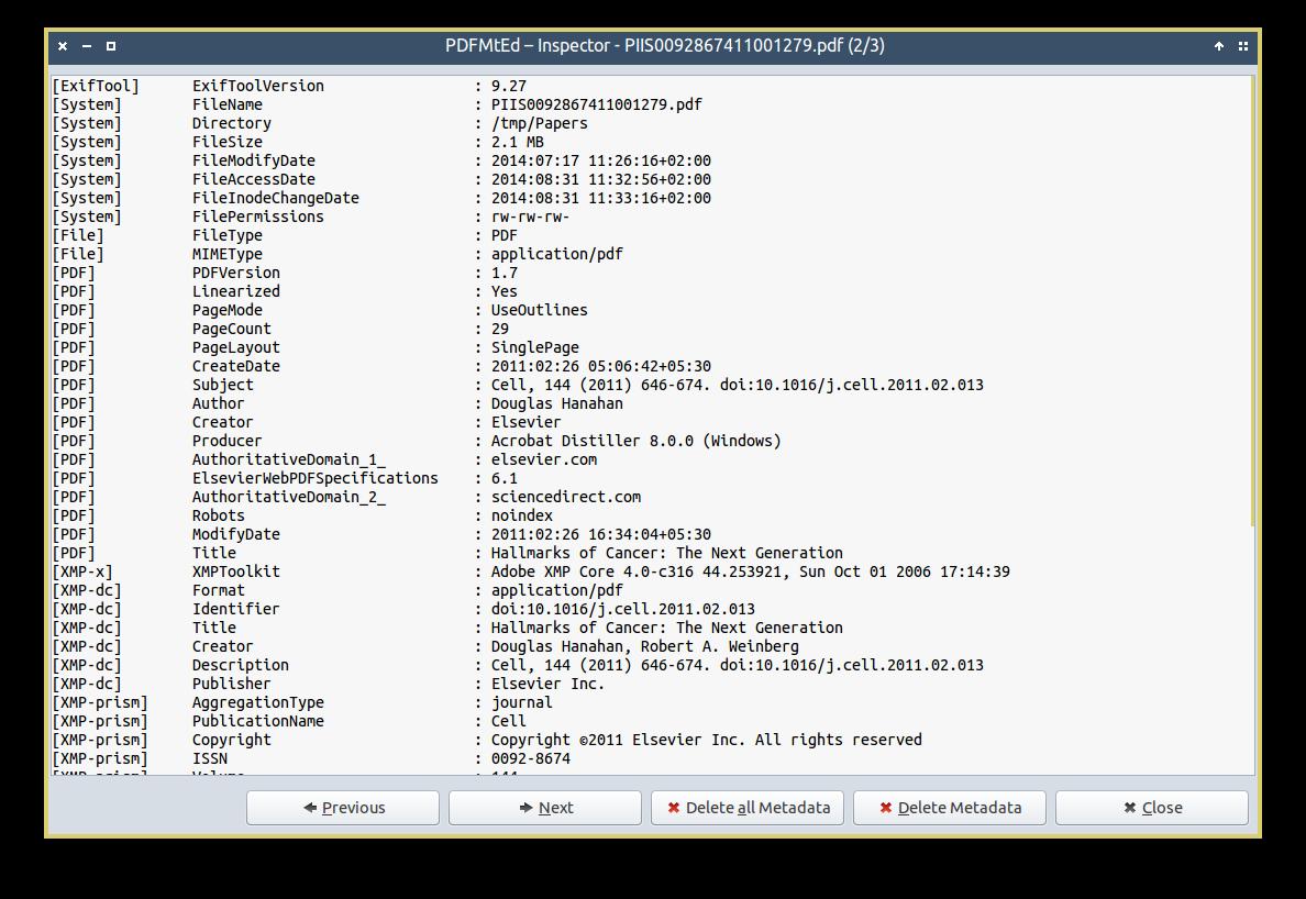 screenshot of PDFMtEd Inspector