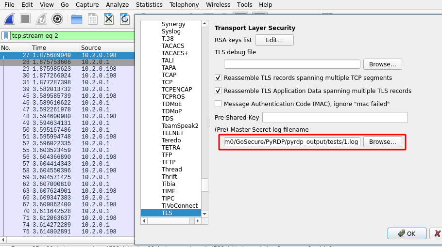 Configure TLS secrets log