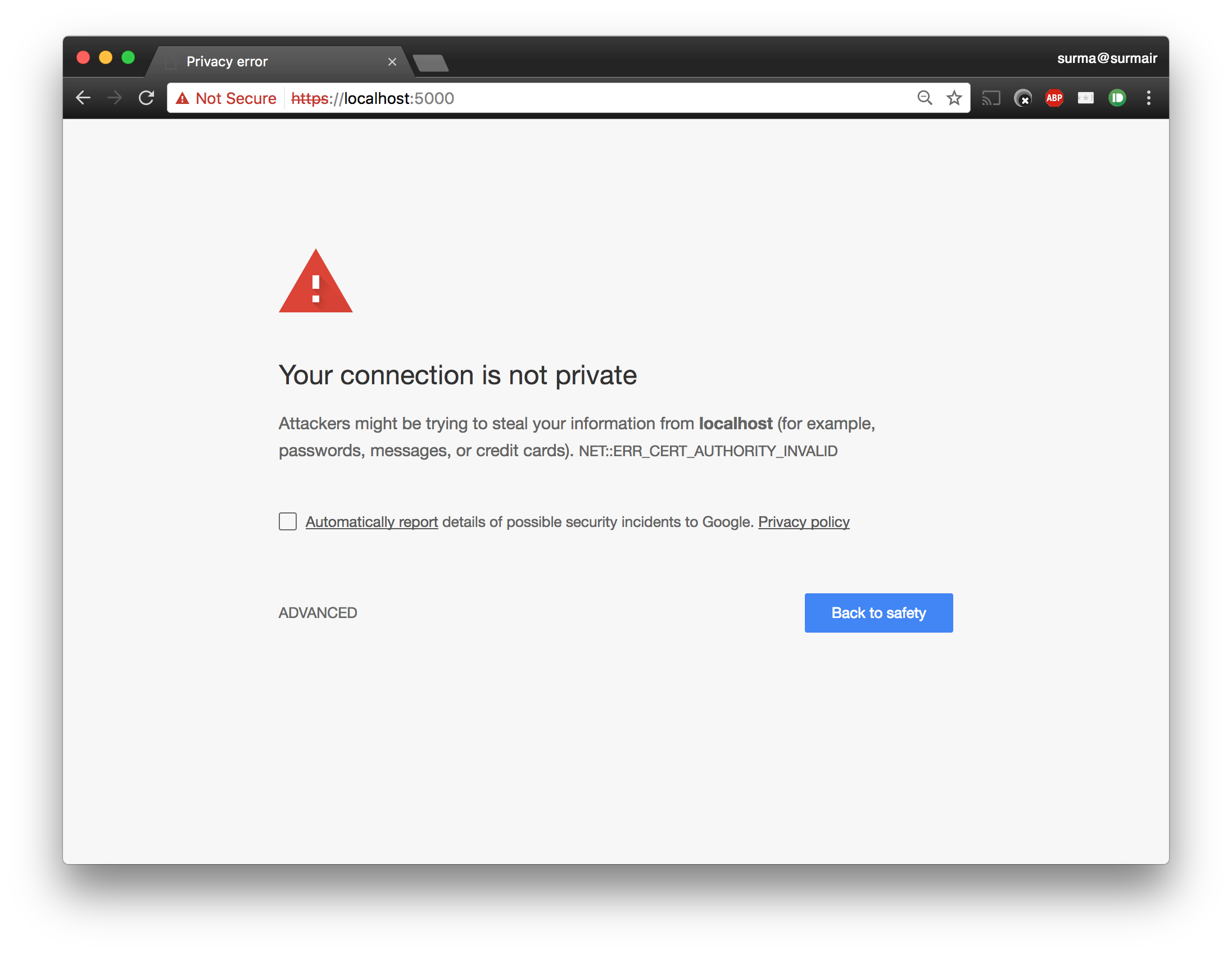 Chrome warning about an insecure certificate