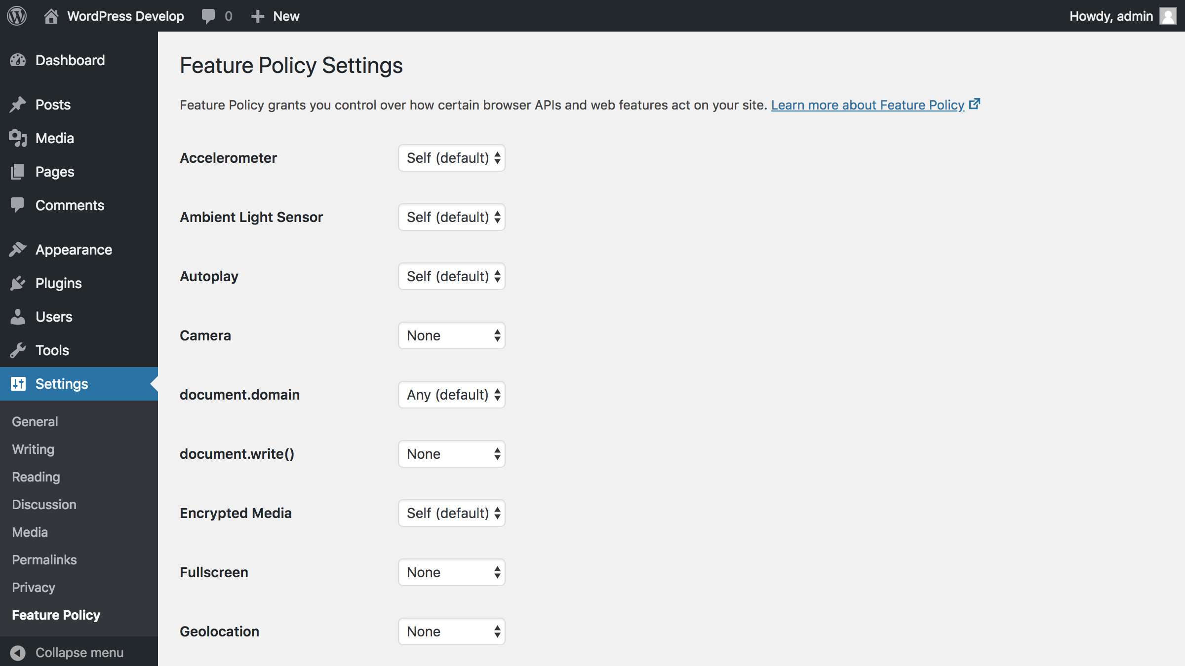 Settings screen to control policies for all available features